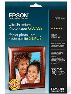 EPSON Ultra Premium Glossy Prnter Photo Paper, 5 x 7 Inches, 20 Sheets