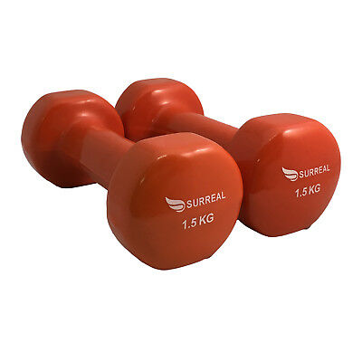 SURREAL 2 X 1.5KG Vinyl Dumbbell Hand Free Weights Strength Training  Aerobic