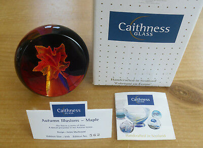 """Boxed Ltd Ed Caithness """"Autumn Illusions - Maple"""" Paperweight (562/650)"""