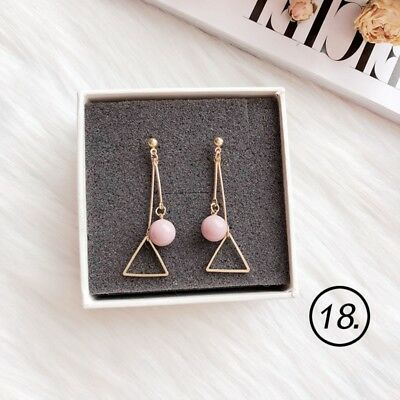 Fashion Women 1Pair Ball Triangle Ear Stud Korean Style Candy Color Ear Dangle