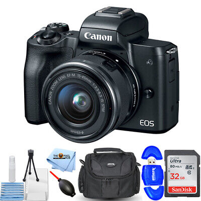 Canon EOS M50 Mirrorless Digital Camera with 15-45mm Lens (Black) 32GB Bundle