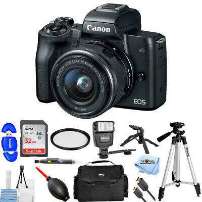 Canon EOS M50 Mirrorless Digital Camera with 15-45mm Lens (Black) Flash Bundle