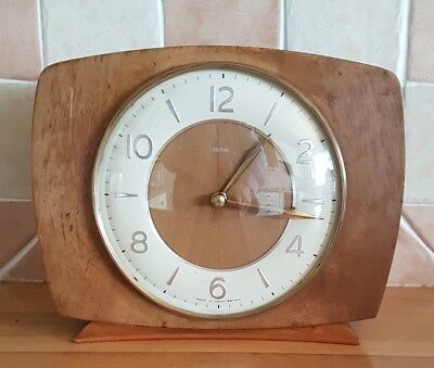 Lovely antique Smith's clock in honey wood case