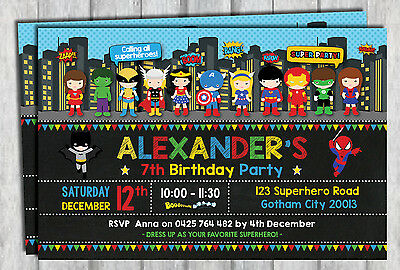 SUPERHERO INVITATION Birthday Party Supplies Avengers Invite Card Chalkboard