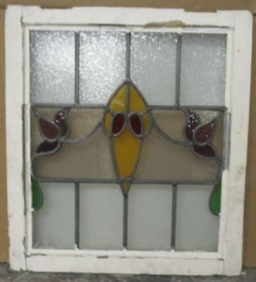 "OLD ENGLISH LEADED STAINED GLASS WINDOW Pretty Floral Banner 20.25"" x 22.5"""
