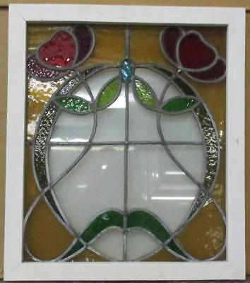 "MID SIZED OLD ENGLISH LEADED STAINED GLASS WINDOW Great Floral 20.25"" x 23.5"""