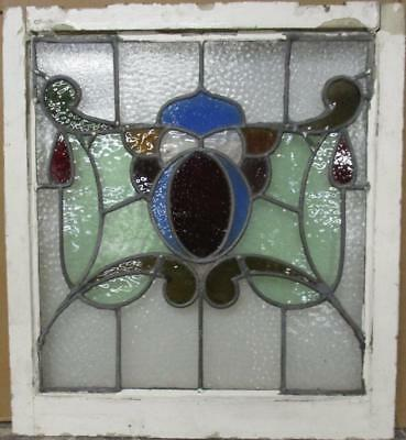 """MID SIZED OLD ENGLISH LEADED STAINED GLASS WINDOW Gorgeous Abs. 22.75"""" x 25.25"""""""