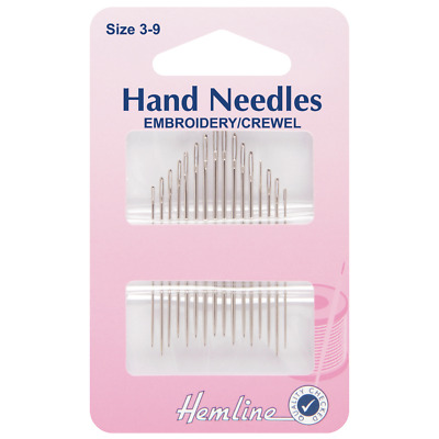16 Hand Sewing Needles Embroidery Crewel Sizes 3 - 9  H200.39