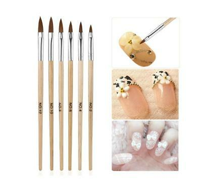 Professional Round Sable Acrylic Nail Art Brush Various Size 2 4 6 8 10 12 UK