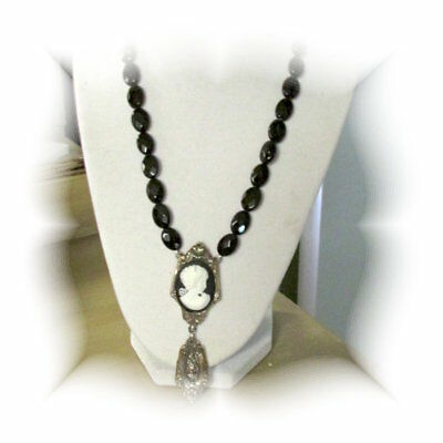 Gorgeous Black Cameo Necklace Made With Antique Silverware