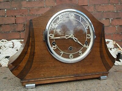 Old Art Deco Westminster Chime Clock, Running but Sluggish. For Restoration