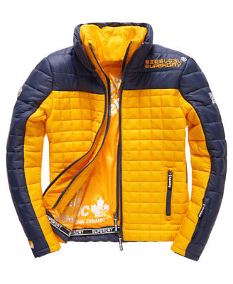 New Mens Superdry Box Fuji Racer Quilted Jacket Navy