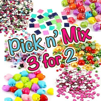 Mixed Flat Back Pearls Rhinestones Embellishments & Gems Craft Card Making - UK