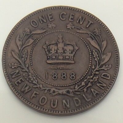 1888 Canada Newfoundland One 1 Cent Large Penny Circulated Canadian Coin F560