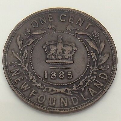 1885 Canada Newfoundland One 1 Cent Large Penny Circulated Canadian Coin F561