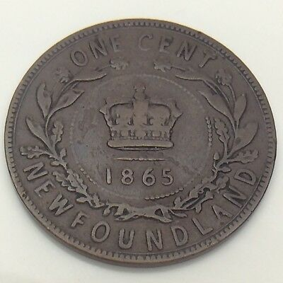 1865 Canada Newfoundland One 1 Cent Large Penny Circulated Canadian Coin F564