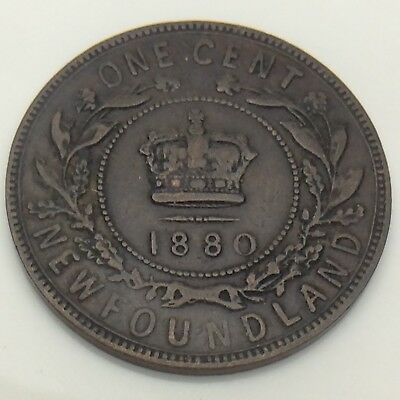 1880 Canada Newfoundland One 1 Cent Large Penny Circulated Canadian Coin F565
