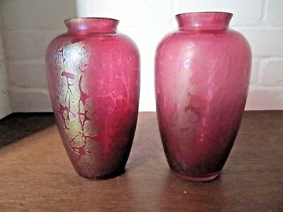 Pair of Large Royal Brierley Cranberry Pink Iridescent Glass Vases