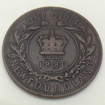 1880 Wide 0 Canada Newfoundland One 1 Cent Large Penny Circulated Coin F567