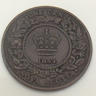 1864 Canada Nova Scotia One 1 Cent Large Penny Circulated Canadian Coin F569