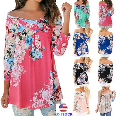 Womens Ruffle Crisscross Off Shoulder Floral Swing Tunic Top Casual Baggy Blouse