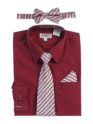 46122853ab721 Gioberti Little Boys Burgundy Shirt Necktie Bow Tie Pocket Square Set 2T-7
