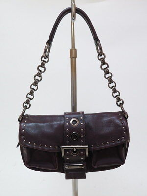 4e10806fac Prada Bag Studded Leather and Nylon Chain-Strap Buckle-Front Burgundy