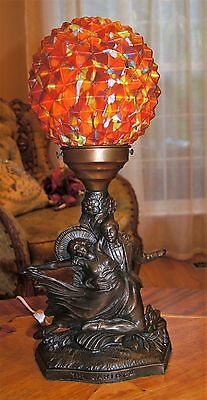 Vtg Art Deco Carioca Dance Lamp End Of The Day Glass Shade Chandelier Fixture