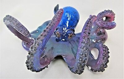 Octopus on the Ocean Floor hand painted Sea Life Decor blue Figurine