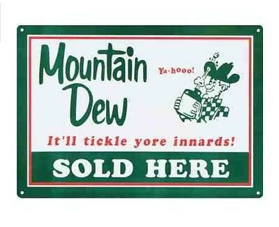 New Mountain Dew Soda Sold Here Retro Vintage Tin Sign Man Cave Bar Home Decor