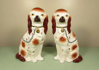 Vintage Staffordshire Dog Figurines Russet 10 Inch Pair Mantle Fireplace Pair