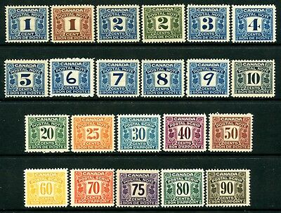 Weeda Canada FPS1-22 Fresh MH set of 1932-48 First Issue Postal Notes CV $151
