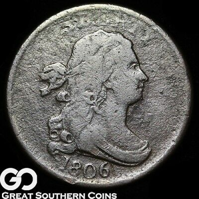 1806 Half Cent, Draped Bust, Scarce Early Date Copper