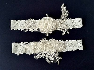 Wedding garter, Bridal Garter Set - OFF WHITE Wedding Garter Set