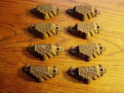 Antique Vintage Original Lot 8 VICTORIAN Cast Iron Drawer Handle Cup Pulls REAL