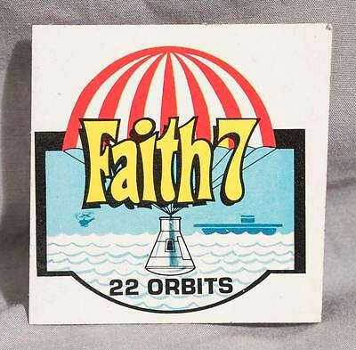 Vintage 1960's Faith 7 22 Orbits NASA Kellogg Company Sticker (g10)