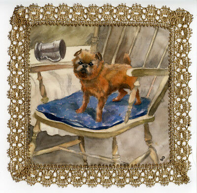GRIFFON BRUXELLOIS BRUSSELS BELGIAN HAND PAINTED on SILK with GOLD LACE BORDER