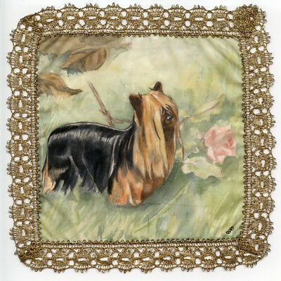 YORKSHIRE TERRIER YORKIE DOG HAND PAINTED on SILK with GOLD LACE BORDER