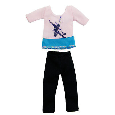 Pink-Blue Yoga Sports Gym Outfit Plain Clothes Pants Shrits For Barbie Doll A1