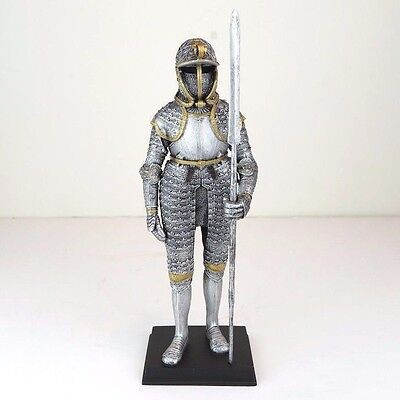 """Medieval Knight Armor w/ Langdebeve Silver Figurine Miniature Statue 11""""H New"""