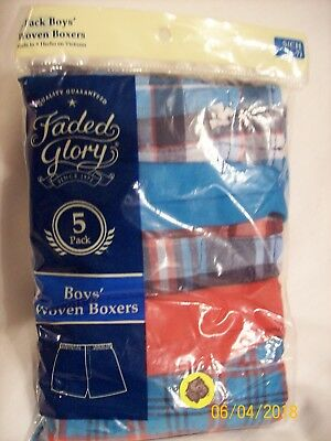 Faded Glory Boys Woven Boxers   -  Size 6-7  -  5 pair