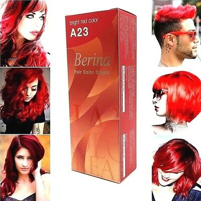 Berina A23 Bright Red Color Permanent Hair Dye Cream Punk Rock Unisex