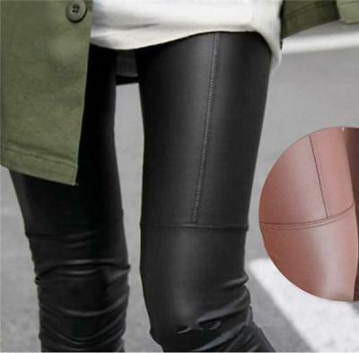 Women Ladies High Waisted Faux Leather Wet Look Leggings Pencil Pants Trousers A