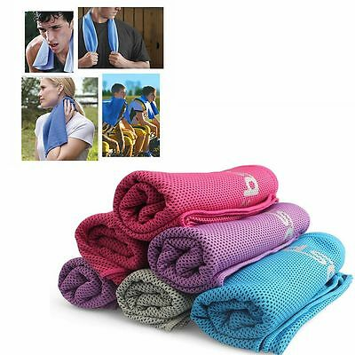 Instant Cooling Towel Cold Cycling Jogging Gym Sports Outdoor Chilly Dry & Case