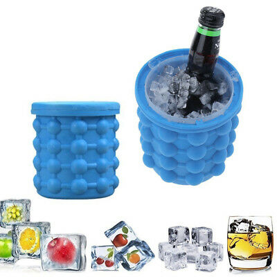 Large Silicone Ice Cube Bucket Bowl Drinks Juice Wine Beer Cooler Freezer Holder