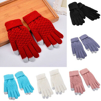 Simple Full Finger Winter Warm Mitten Gloves Women Lady Girls Thermal Insulated