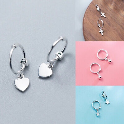 925 Sterling Silver Hoop Sleeper Earrings 10mm,Small Heart/Bead/Cross/Star