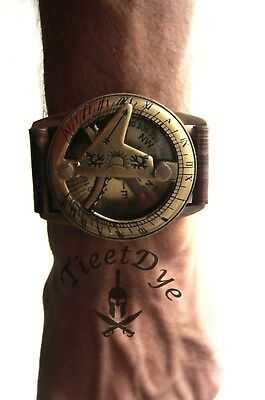 Navitron Steampunk Wrist Brass Compass and Sundial- Genuine Leather Wrist watch