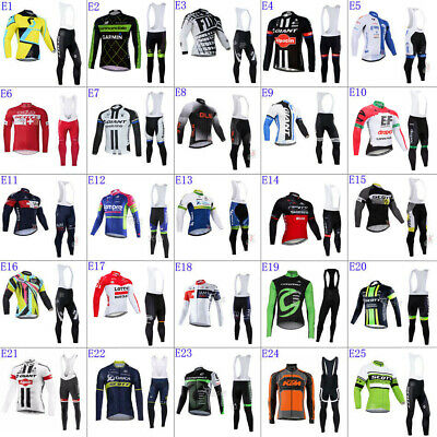 Mens Thermal Fleece long sleeve cycling jersey sets Bib Pants cycling bib pants