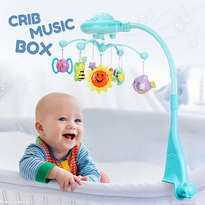 Baby Bed Mobile Musical Cot Crib Rotary Music Box Kid Stars Light Projection Toy